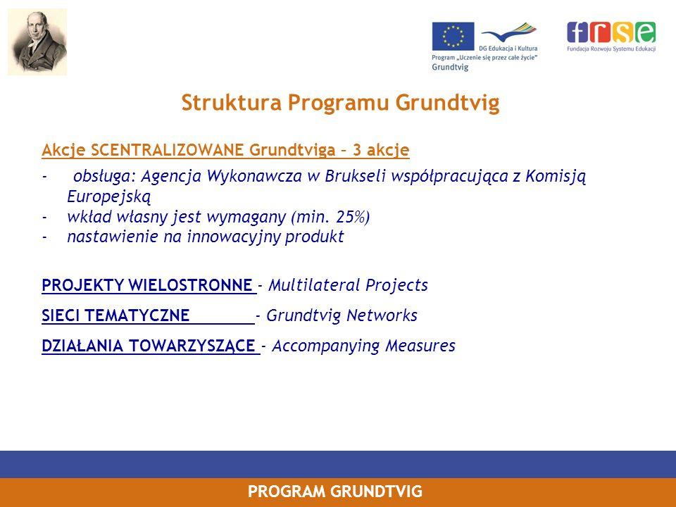 PROGRAM GRUNDTVIG Struktura Programu Grundtvig Akcje SCENTRALIZOWANE Grundtviga – 3 akcje - obsługa: Agencja Wykonawcza w Brukseli współpracująca z Ko
