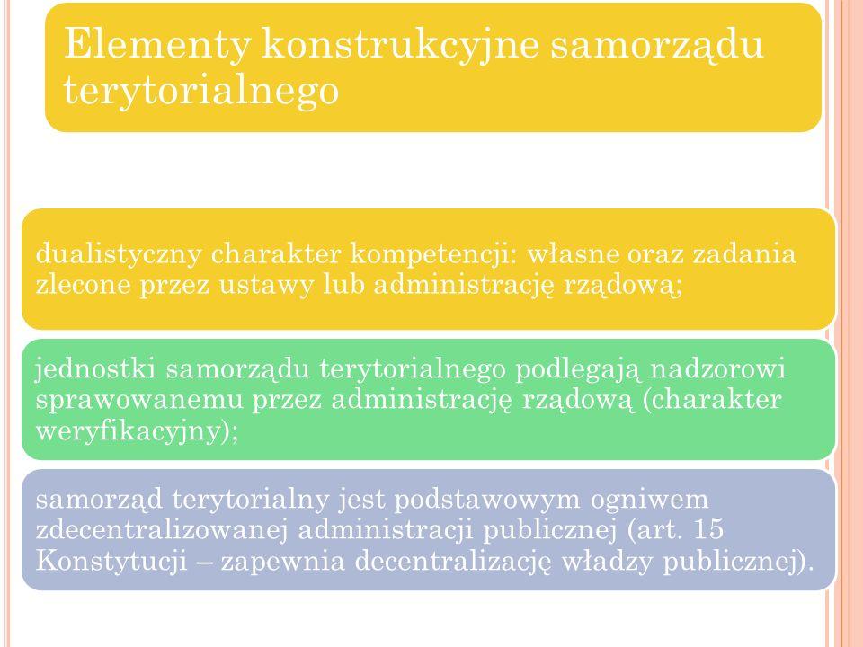 Elementy konstrukcyjne samorządu terytorialnego dualistyczny charakter kompetencji: własne oraz zadania zlecone przez ustawy lub administrację rządową