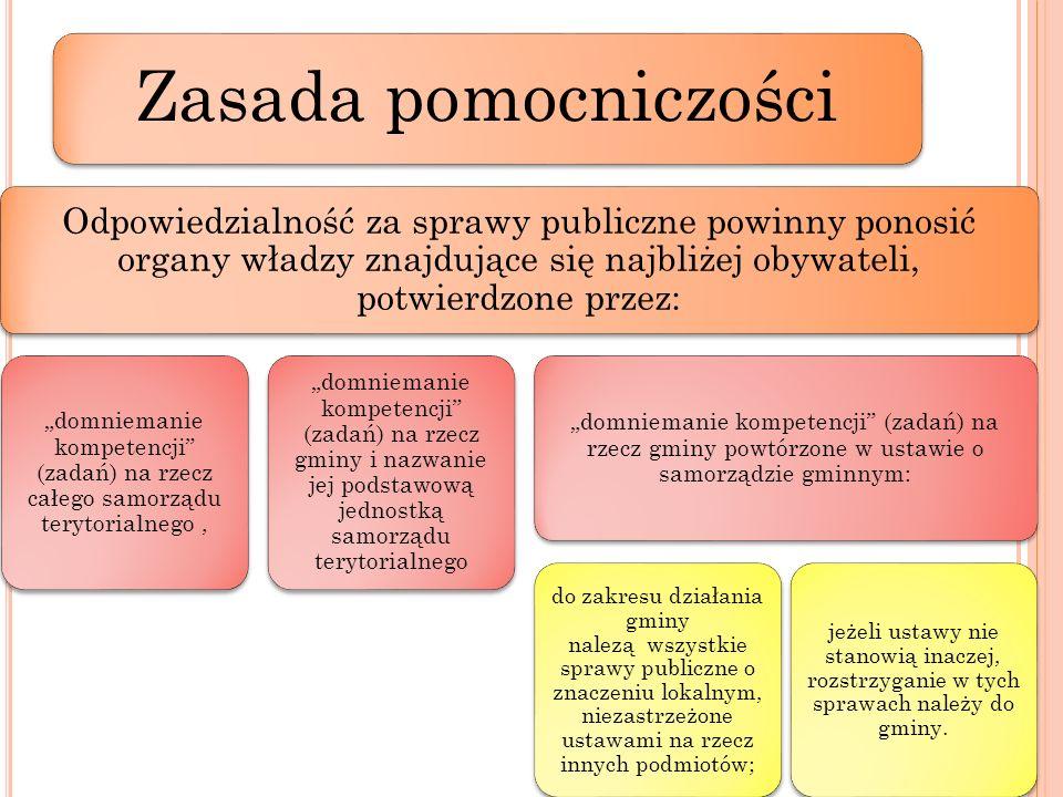 Zasada pomocniczości Odpowiedzialność za sprawy publiczne powinny ponosić organy władzy znajdujące się najbliżej obywateli, potwierdzone przez: domnie
