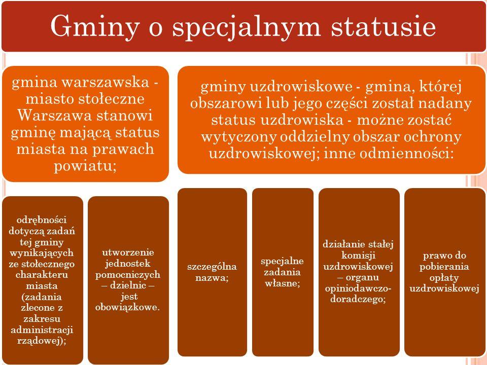 Gminy o specjalnym statusie gmina warszawska - miasto stołeczne Warszawa stanowi gminę mającą status miasta na prawach powiatu; odrębności dotyczą zad