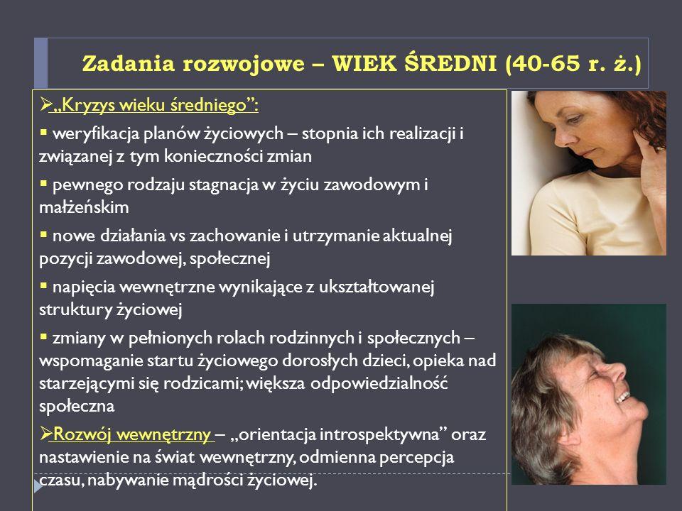 Zadania rozwojowe – PÓŹNA DOROSŁOŚĆ/STAROŚĆ (od 60/65 r.