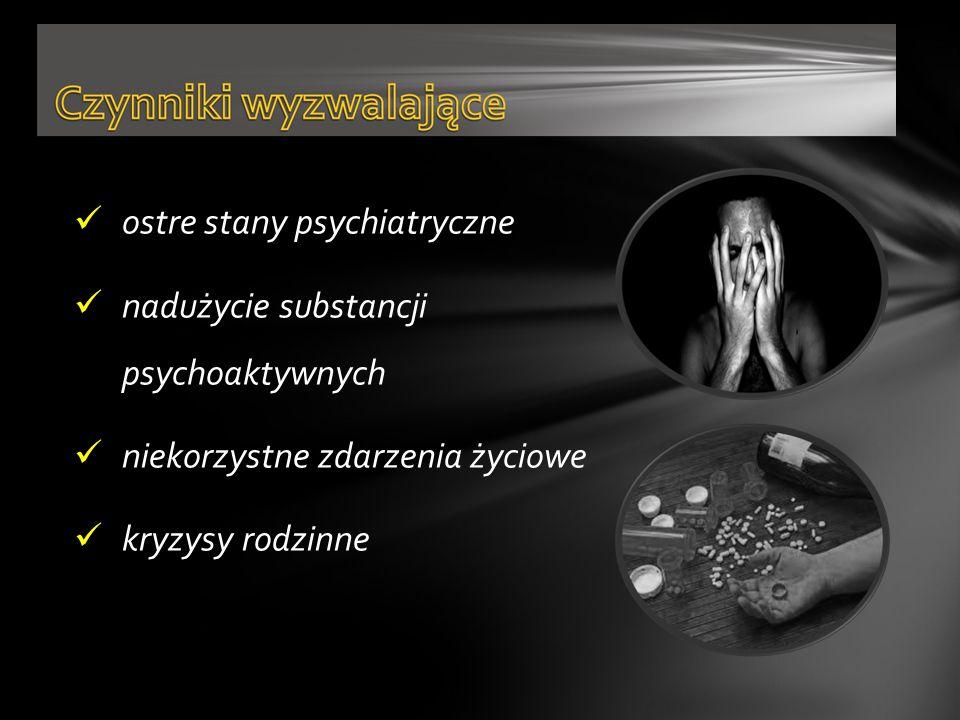 ostre stany psychiatryczne nadużycie substancji psychoaktywnych niekorzystne zdarzenia życiowe kryzysy rodzinne