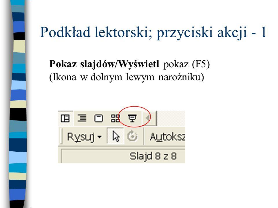 Podkład lektorski; przyciski akcji - 1 Pokaz slajdów/Wyświetl pokaz (F5) (Ikona w dolnym lewym narożniku)