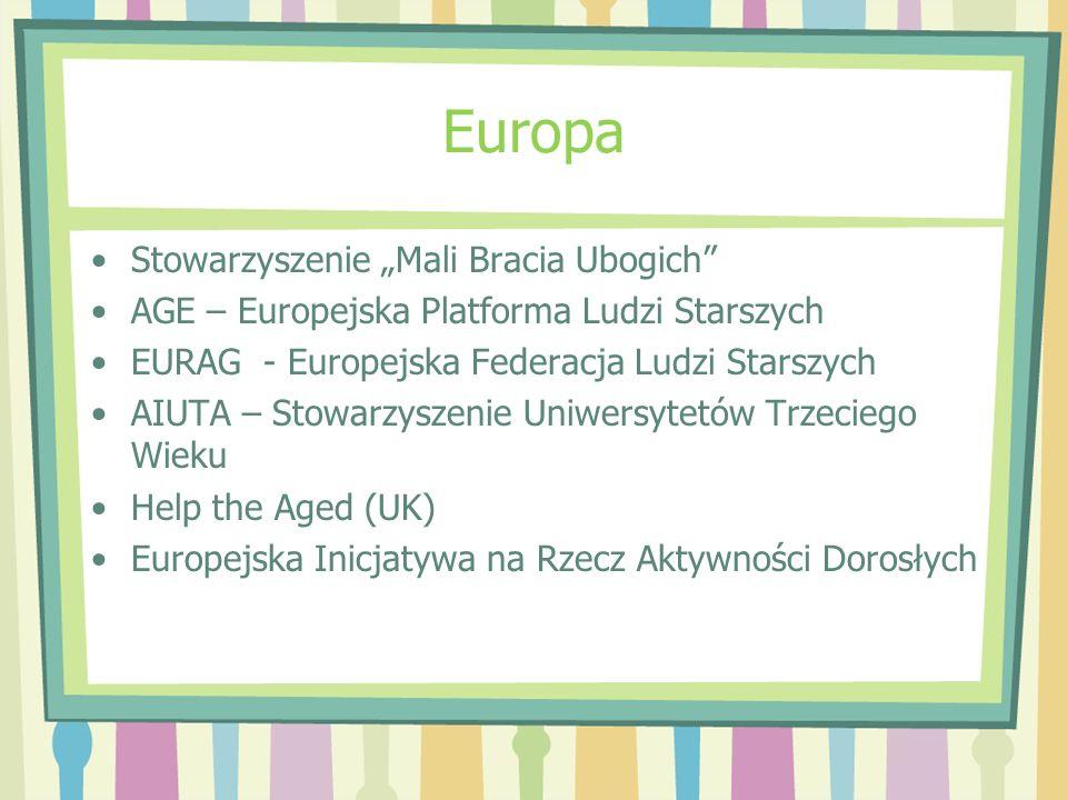 Europa Stowarzyszenie Mali Bracia Ubogich AGE – Europejska Platforma Ludzi Starszych EURAG - Europejska Federacja Ludzi Starszych AIUTA – Stowarzyszen