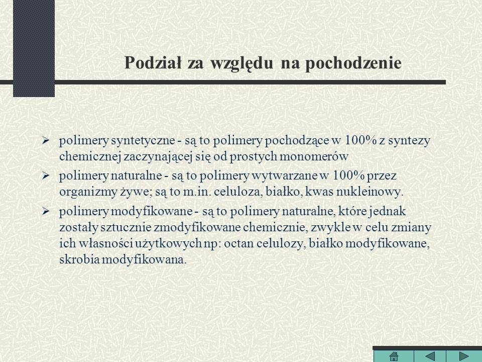 Podział za względu na pochodzenie polimery syntetyczne - są to polimery pochodzące w 100% z syntezy chemicznej zaczynającej się od prostych monomerów