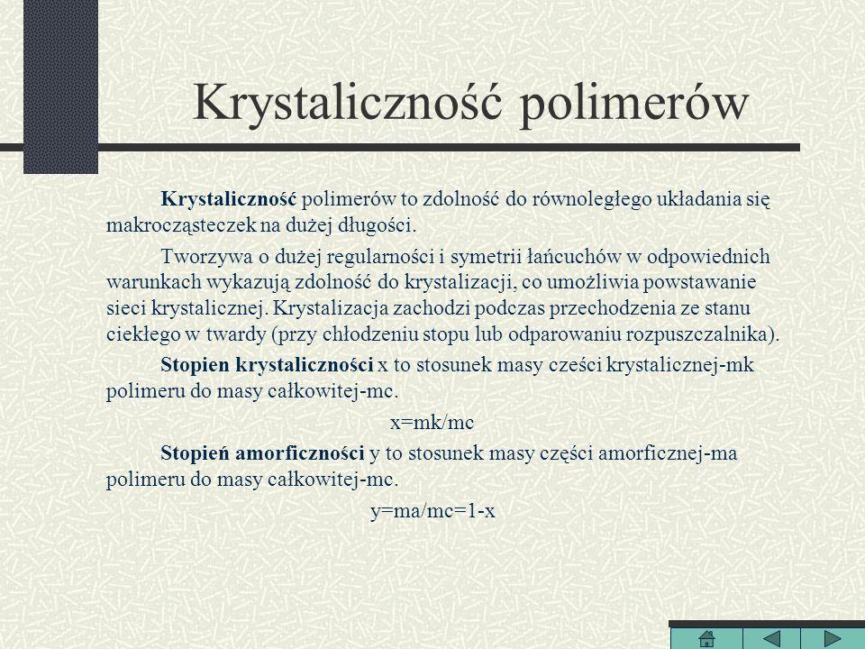 Krystaliczność polimerów Krystaliczność polimerów to zdolność do równoległego układania się makrocząsteczek na dużej długości. Tworzywa o dużej regula