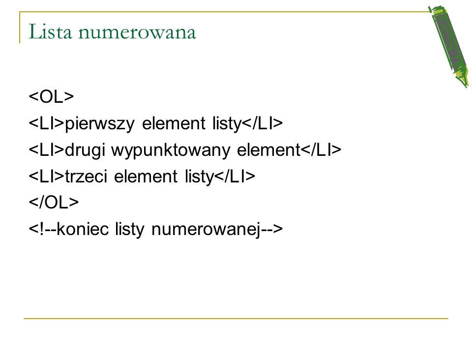 Lista nienumerowana pierwszy element listy drugi wypunktowany element trzeci element listy