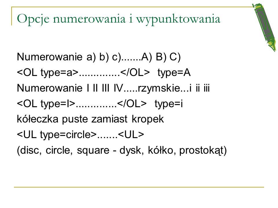 Lista numerowana pierwszy element listy drugi wypunktowany element trzeci element listy