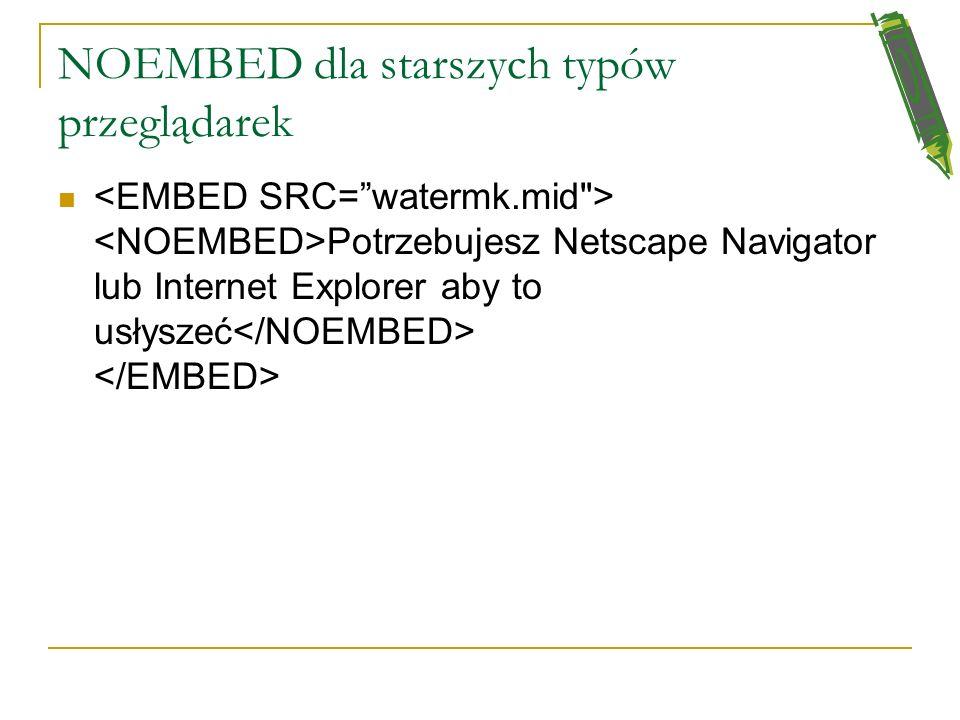 Umieszczanie plików multimedialnych na stronie WWW polecenie EMBED (osadź) można używać do różnego typu plików multimedialnych:.avi,.mid,.rm (audio),