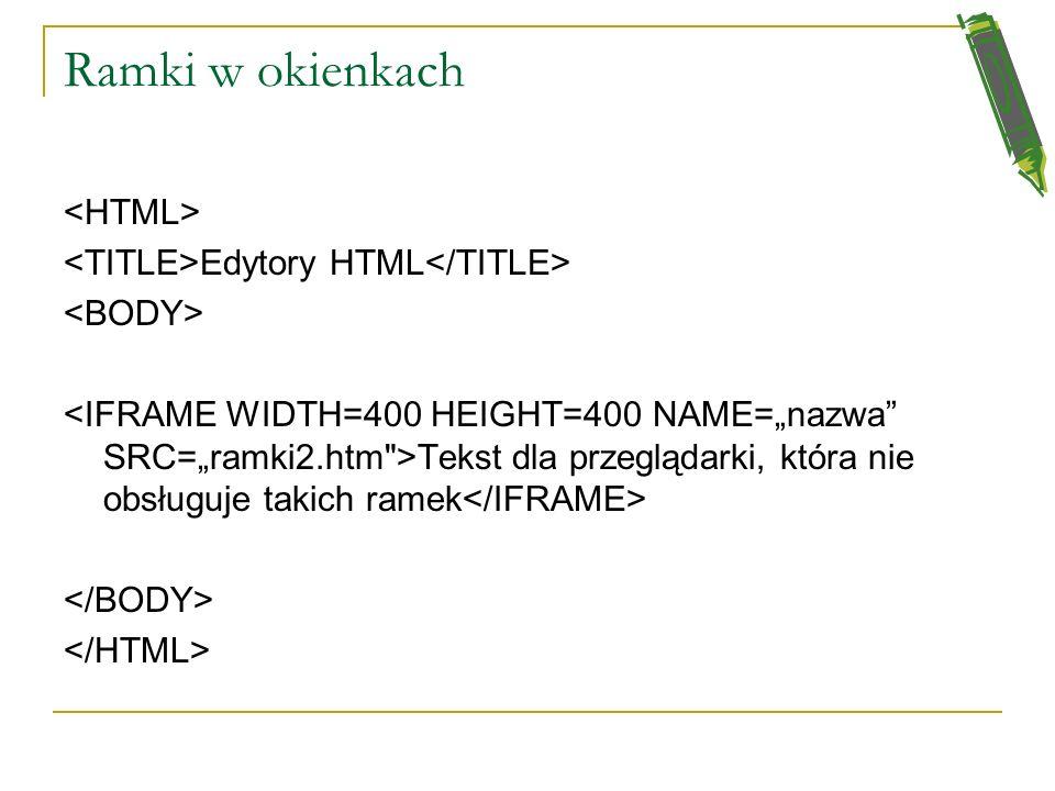 Ramki (FRAMES) Edytory HTML gdy nie ma obsługi ramek pokaże się ten tekst
