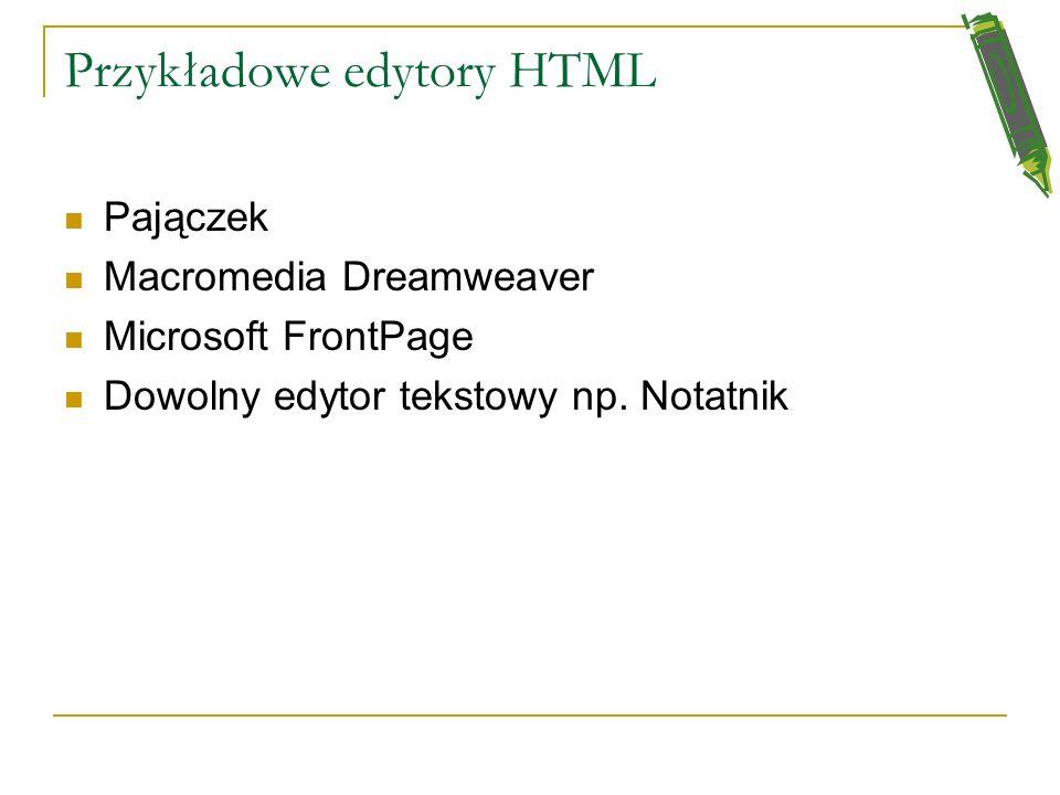 Co to jest HTML? HTML ------ HyperText Markup Language ------- dosłownie język znaczników hipertekstowych używany do opisu stron Internetowych (stron