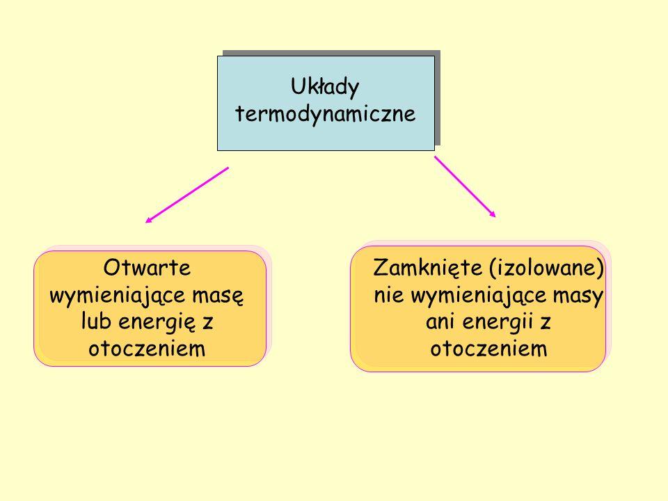 Układy termodynamiczne Otwarte wymieniające masę lub energię z otoczeniem Zamknięte (izolowane) nie wymieniające masy ani energii z otoczeniem