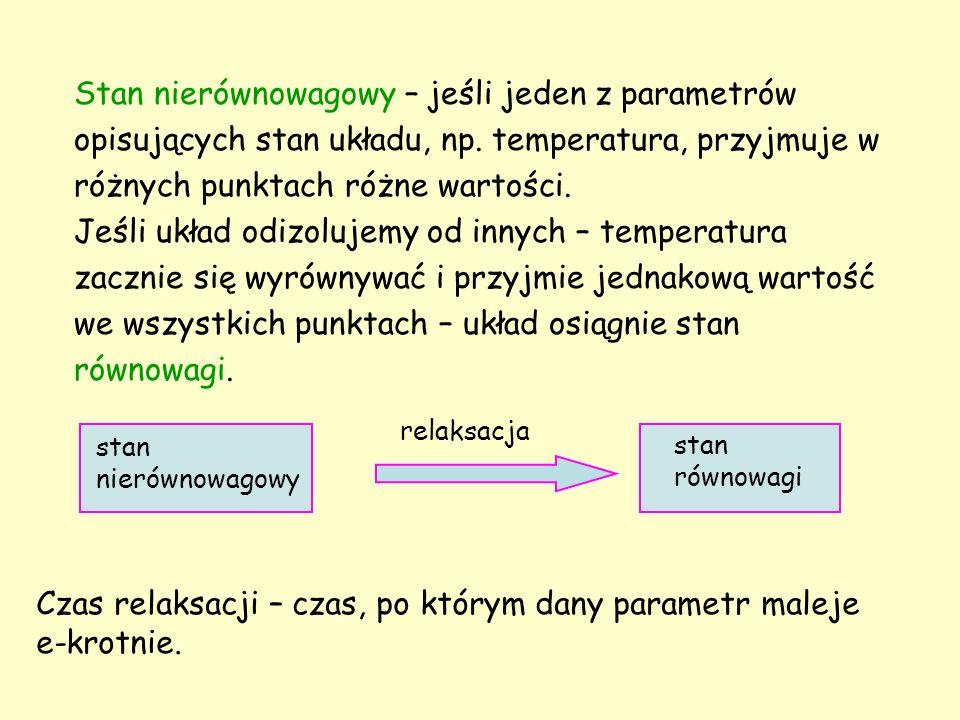 Stan nierównowagowy – jeśli jeden z parametrów opisujących stan układu, np. temperatura, przyjmuje w różnych punktach różne wartości. Jeśli układ odiz