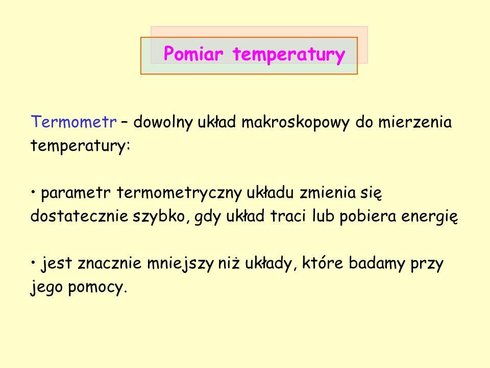 Pomiar temperatury Termometr – dowolny układ makroskopowy do mierzenia temperatury: parametr termometryczny układu zmienia się dostatecznie szybko, gd