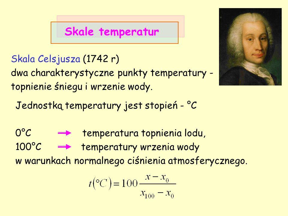Skala Celsjusza (1742 r) dwa charakterystyczne punkty temperatury - topnienie śniegu i wrzenie wody. Skale temperatur Jednostką temperatury jest stopi