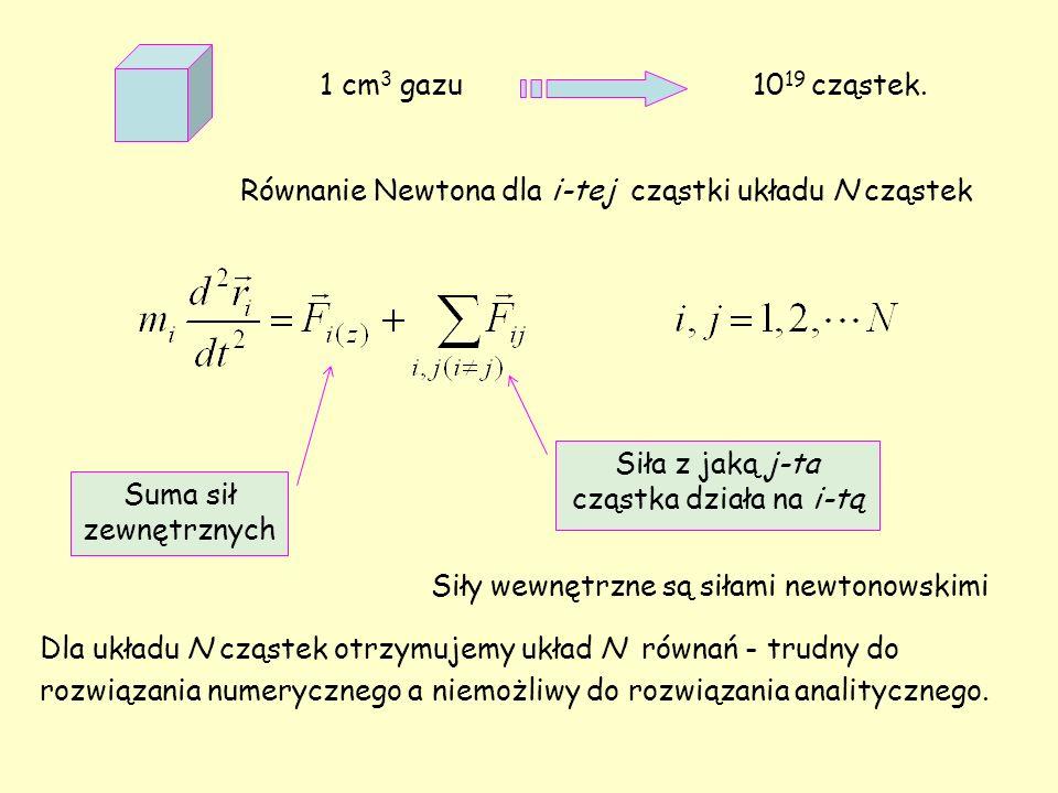 1 cm 3 gazu 10 19 cząstek. Równanie Newtona dla i-tej cząstki układu N cząstek Suma sił zewnętrznych Siła z jaką j-ta cząstka działa na i-tą Siły wewn