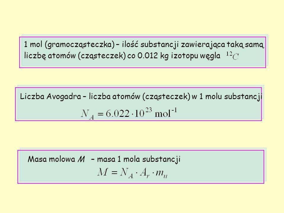 1 mol (gramocząsteczka) – ilość substancji zawierająca taką samą liczbę atomów (cząsteczek) co 0.012 kg izotopu węgla Liczba Avogadra – liczba atomów