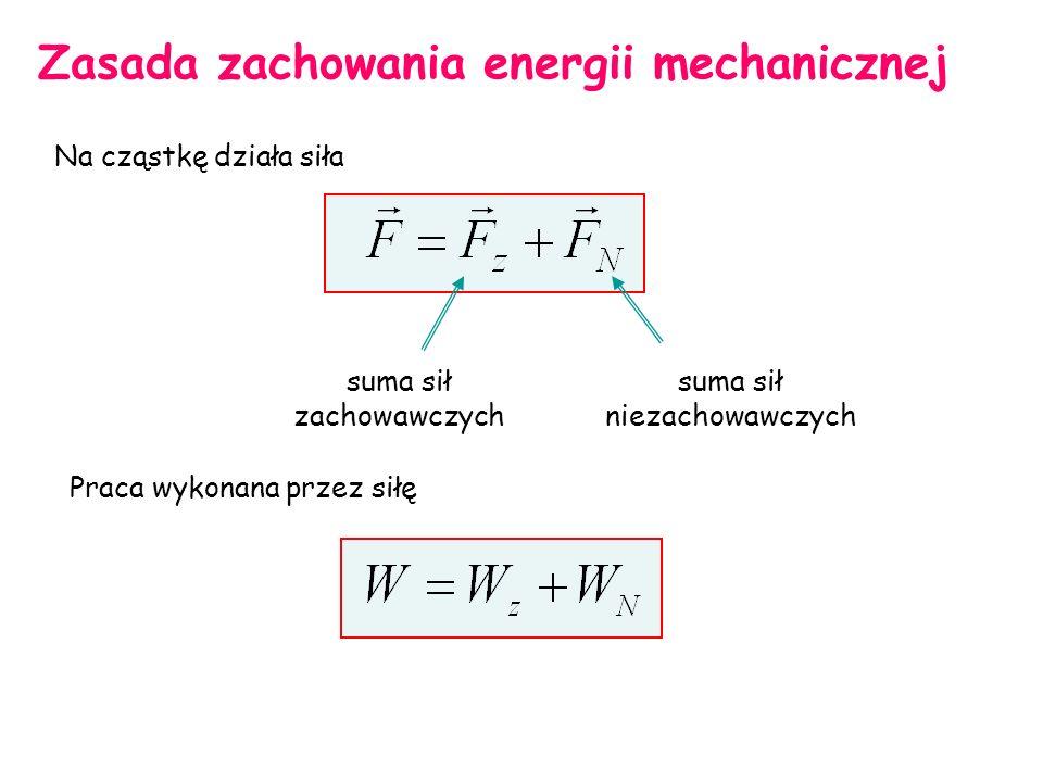 Zasada zachowania energii mechanicznej Na cząstkę działa siła suma sił zachowawczych suma sił niezachowawczych Praca wykonana przez siłę