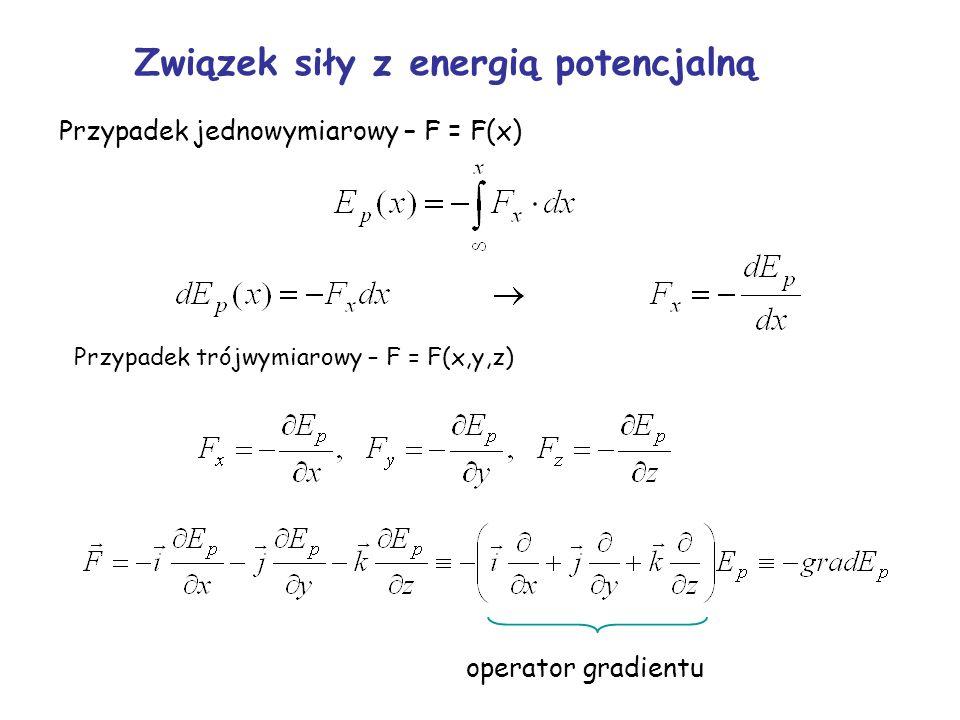 Przypadek jednowymiarowy – F = F(x) Przypadek trójwymiarowy – F = F(x,y,z) operator gradientu Związek siły z energią potencjalną