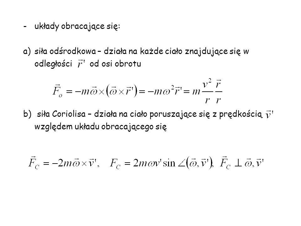 -układy obracające się: a)siła odśrodkowa – działa na każde ciało znajdujące się w odległości od osi obrotu b) siła Coriolisa – działa na ciało porusz