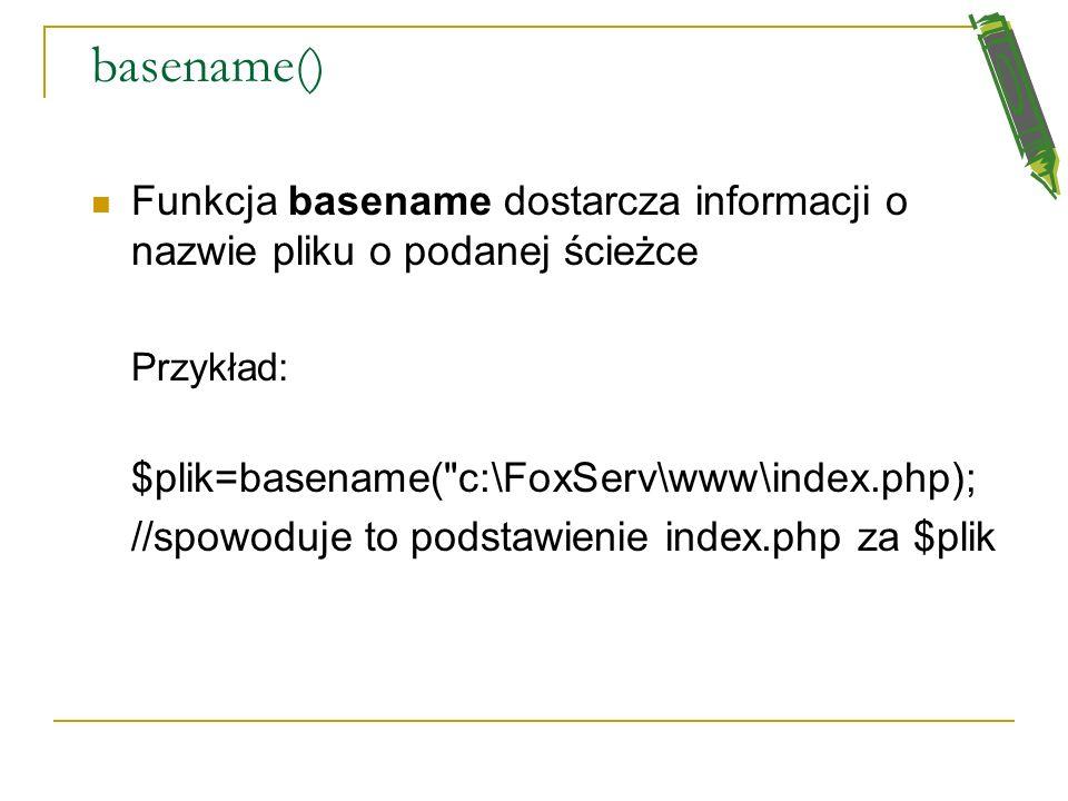 Pliki na serwerze PHP oferuje funkcje do modyfikowania i przeglądania plików na serwerze. Możemy uzyskać takie informacje, jak: lokalizacja, właścicie