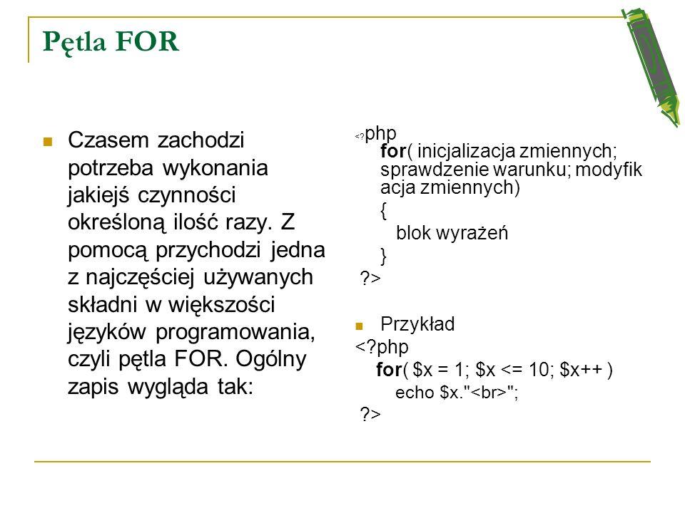 Instrukcje warunkowe - przykład <?php $a = 6; $b = 5; $c = 1; if($a > $b) { echo
