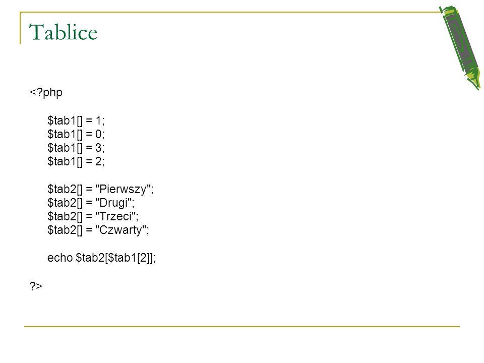 Tablice Aby dodać kolejny wpis na końcu tabeli wystarczy przy przypisywaniu wartości nie wpisywać indeksu do nawiasów kwadratowych. Jeśli w ten sposób