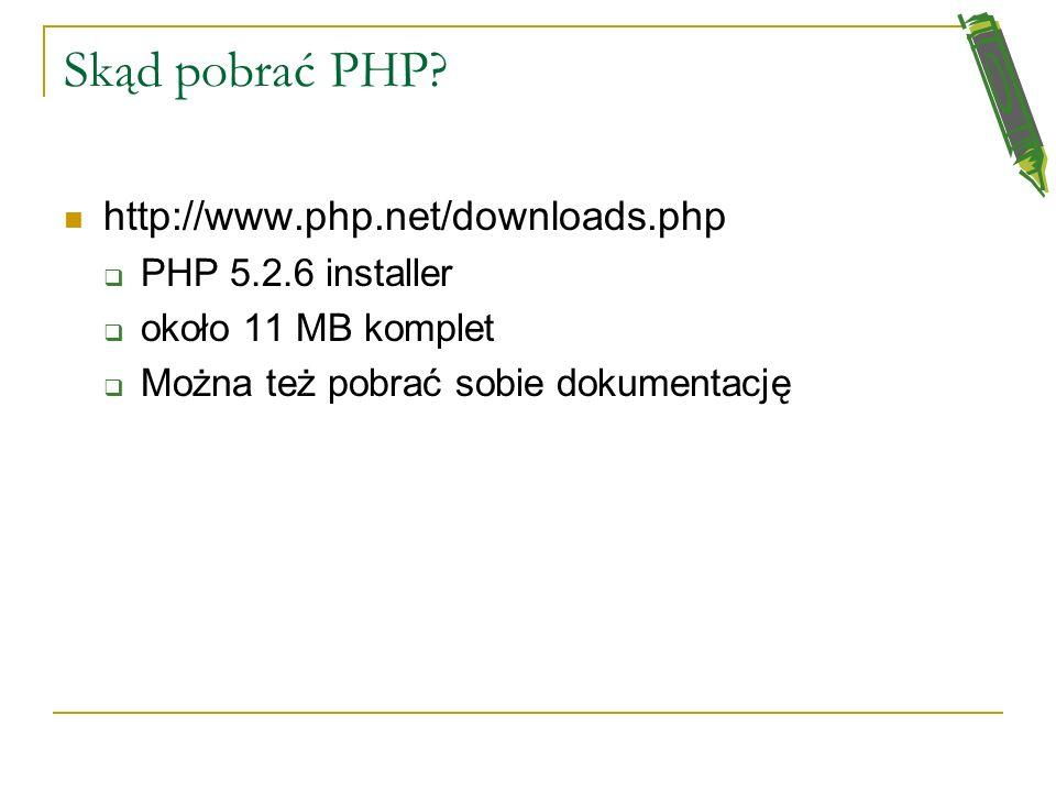 Skąd pobrać PHP.