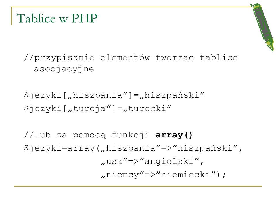 Tablica asocjacyjna W PHP występuje też inny rodzaj tablic, tak zwane tablice asocjacyjne (zwane też czasem haszami - hash table). Są to tablice, w kt