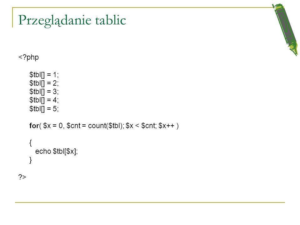 Przeglądanie tablic Sprawa się trochę komplikuje jeśli nie znamy ilości elementów tablicy. Wtedy możemy użyć funkcji: count( $nazwa_tablicy ). Zwraca