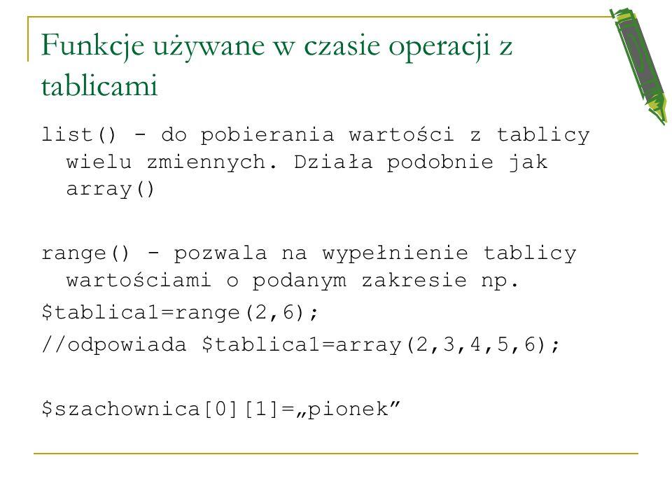 Funkcje zmienne - przykład //komunikat po polsku function polski() {echo Witaj przyjacielu na mojej stronie;} function angielski() {echo Welcome my fr