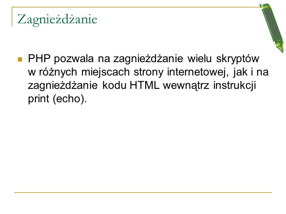 Aby odróżnić kod PHP od innych elementów na stronie WWW Musimy oznaczyć kod PHP stosując: Znaczniki domyślne Znaczniki skrócone Znaczniki skryptowe: p