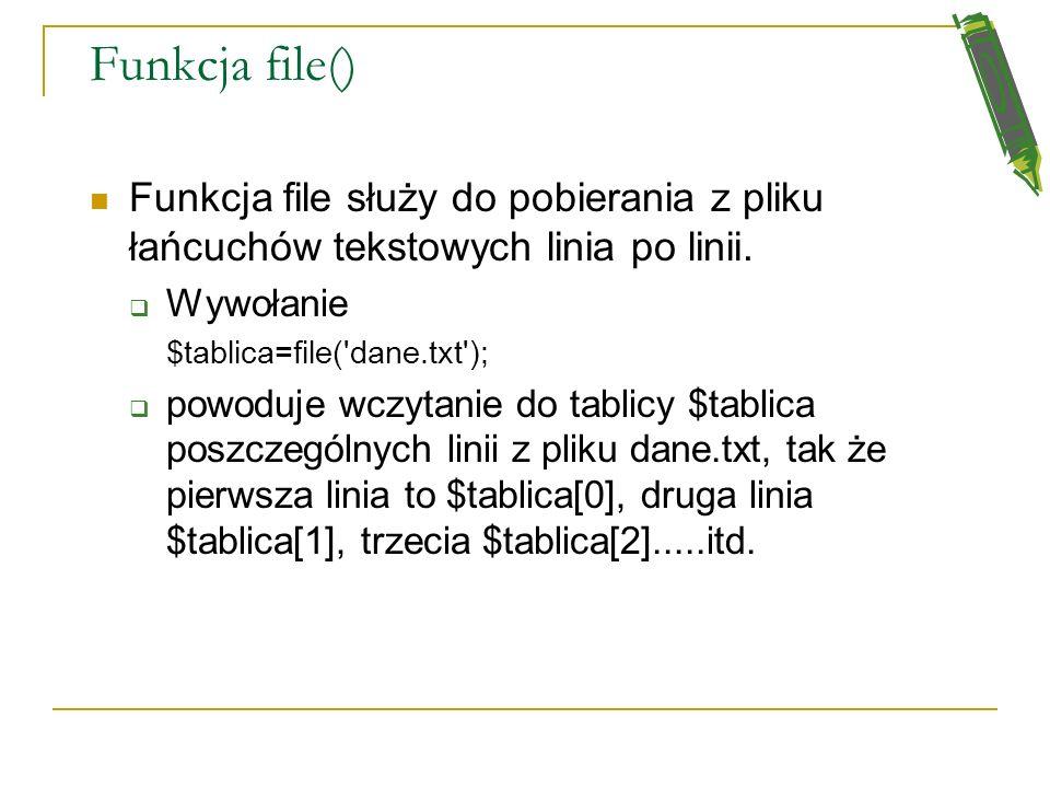 Fgetc() przykład <? $zm_plikowa=fopen('dane.txt',