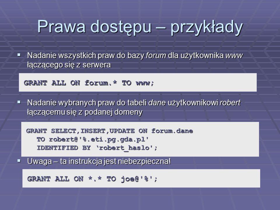 Prawa dostępu – przykłady Nadanie wszystkich praw do bazy forum dla użytkownika www łączącego się z serwera Nadanie wszystkich praw do bazy forum dla
