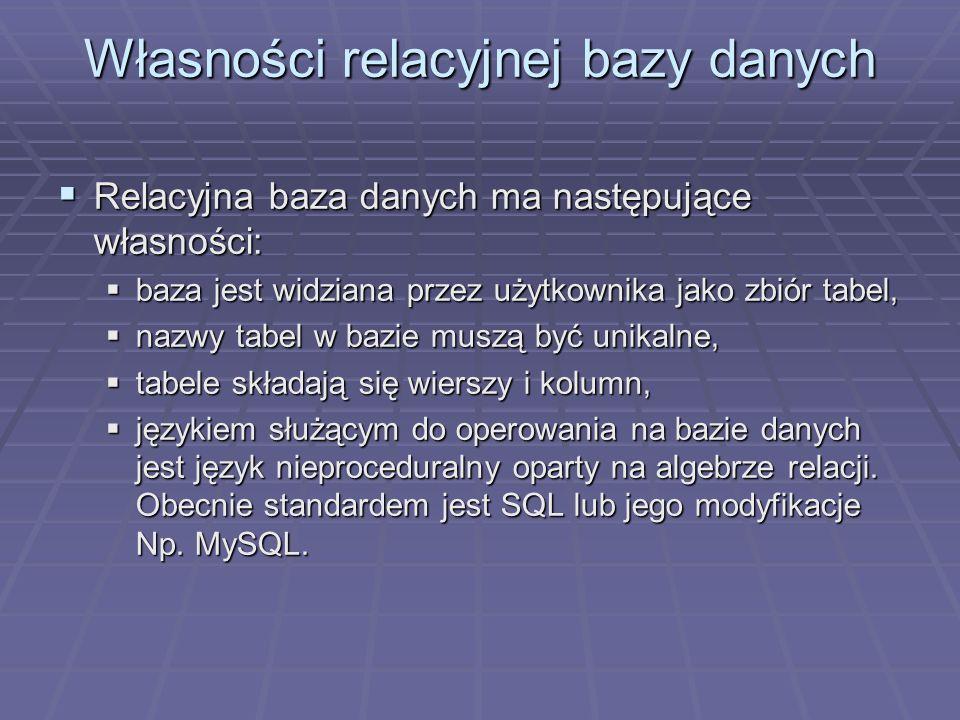 Własności relacyjnej bazy danych Relacyjna baza danych ma następujące własności: Relacyjna baza danych ma następujące własności: baza jest widziana pr