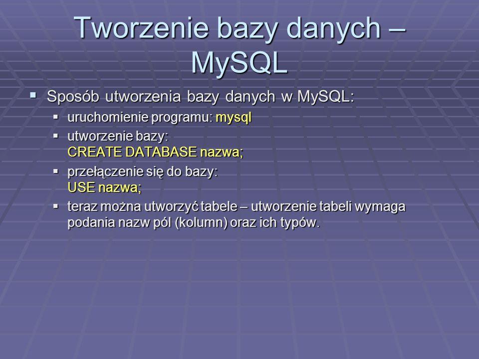Tworzenie bazy danych – MySQL Sposób utworzenia bazy danych w MySQL: Sposób utworzenia bazy danych w MySQL: uruchomienie programu: mysql uruchomienie