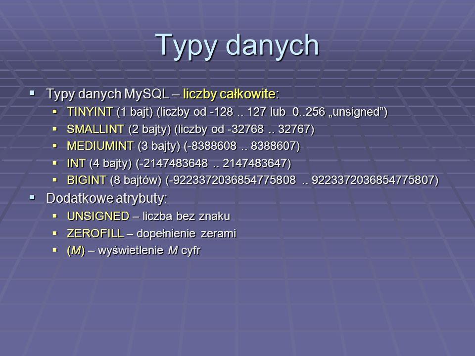 Typy danych Typy danych MySQL – liczby całkowite: Typy danych MySQL – liczby całkowite: TINYINT (1 bajt) (liczby od -128..