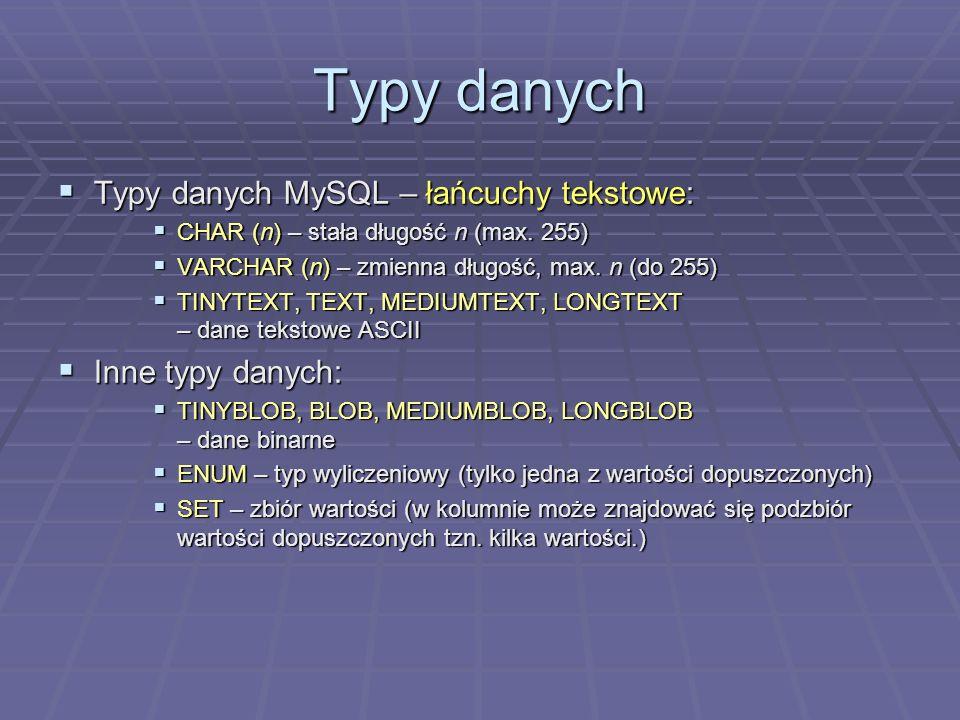 Typy danych Typy danych MySQL – łańcuchy tekstowe: Typy danych MySQL – łańcuchy tekstowe: CHAR (n) – stała długość n (max. 255) CHAR (n) – stała długo