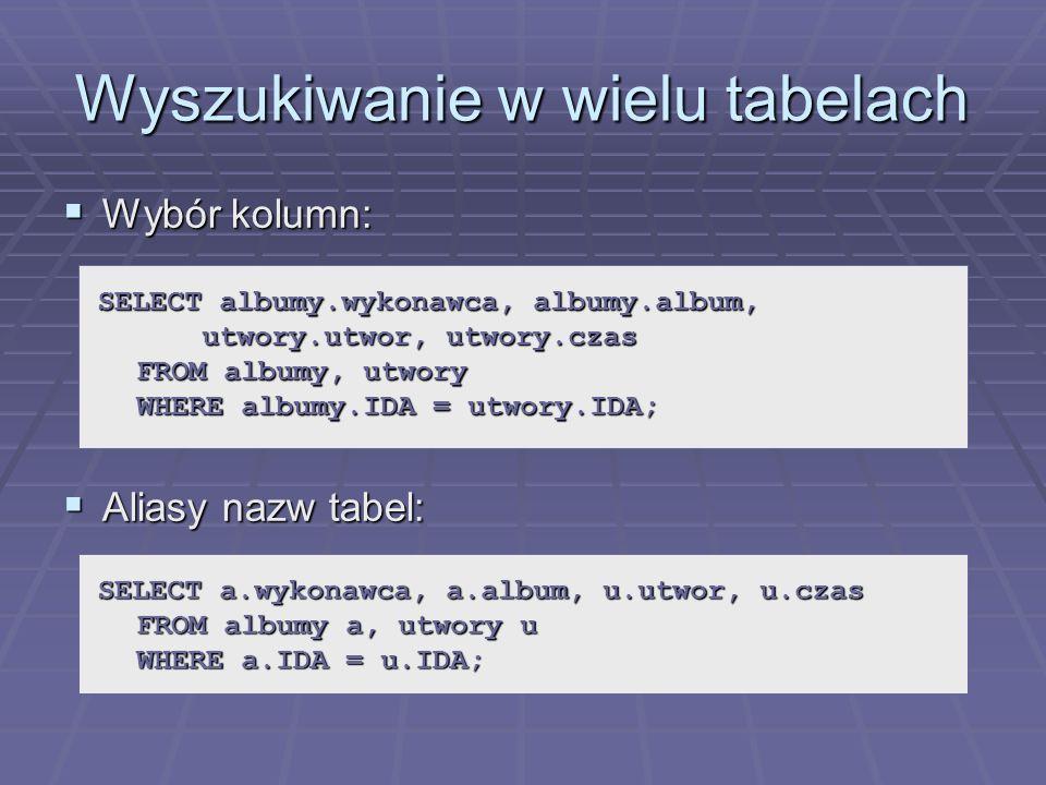 Wyszukiwanie w wielu tabelach Wybór kolumn: Wybór kolumn: Aliasy nazw tabel: Aliasy nazw tabel: SELECT albumy.wykonawca, albumy.album, utwory.utwor, utwory.czas FROM albumy, utwory WHERE albumy.IDA = utwory.IDA; SELECT a.wykonawca, a.album, u.utwor, u.czas FROM albumy a, utwory u WHERE a.IDA = u.IDA;