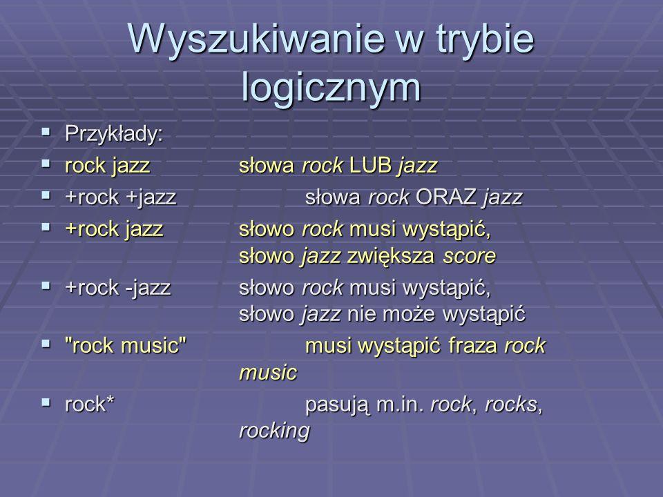 Wyszukiwanie w trybie logicznym Przykłady: Przykłady: rock jazzsłowa rock LUB jazz rock jazzsłowa rock LUB jazz +rock +jazzsłowa rock ORAZ jazz +rock +jazzsłowa rock ORAZ jazz +rock jazzsłowo rock musi wystąpić, słowo jazz zwiększa score +rock jazzsłowo rock musi wystąpić, słowo jazz zwiększa score +rock -jazzsłowo rock musi wystąpić, słowo jazz nie może wystąpić +rock -jazzsłowo rock musi wystąpić, słowo jazz nie może wystąpić rock music musi wystąpić fraza rock music rock music musi wystąpić fraza rock music rock*pasują m.in.