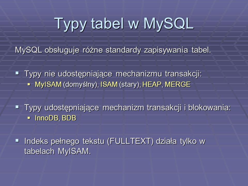 Typy tabel w MySQL MySQL obsługuje różne standardy zapisywania tabel. Typy nie udostępniające mechanizmu transakcji: Typy nie udostępniające mechanizm