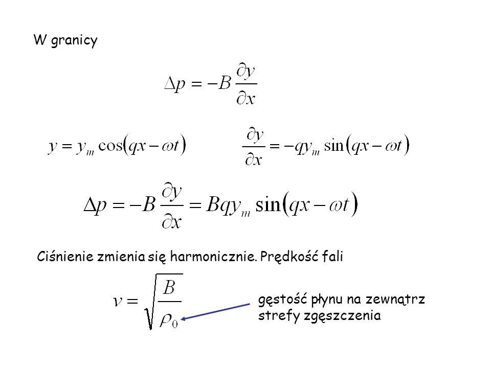 W granicy Ciśnienie zmienia się harmonicznie. Prędkość fali gęstość płynu na zewnątrz strefy zgęszczenia