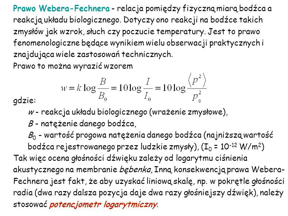 Prawo Webera-Fechnera - relacja pomiędzy fizyczną miarą bodźca a reakcją układu biologicznego. Dotyczy ono reakcji na bodźce takich zmysłów jak wzrok,