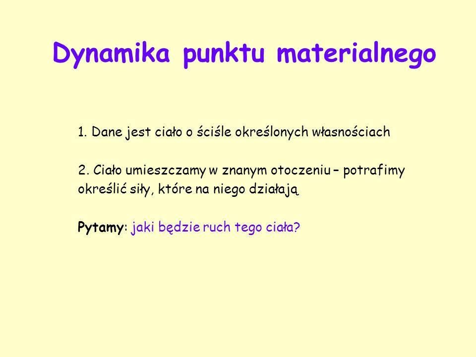 Dynamika punktu materialnego 1.Dane jest ciało o ściśle określonych własnościach 2.
