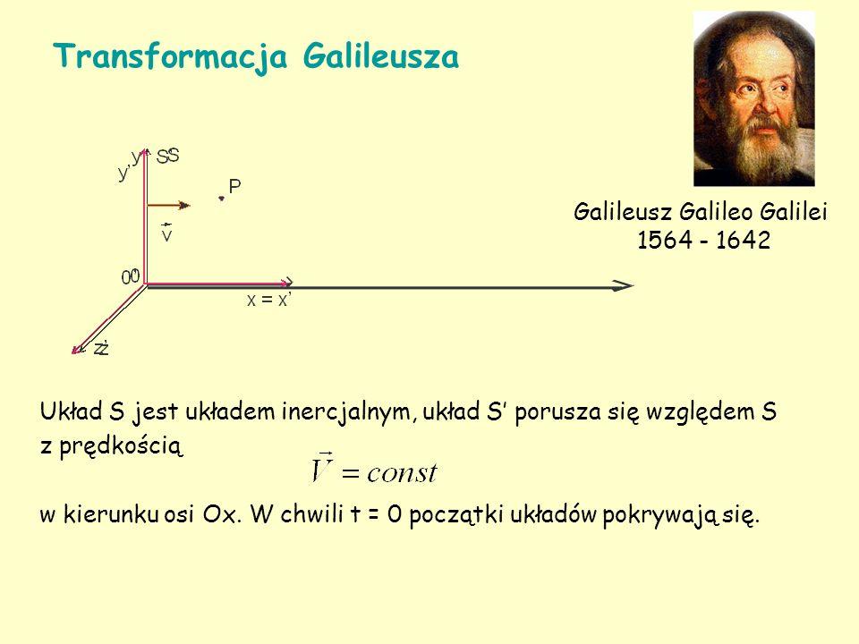 Układ S jest układem inercjalnym, układ S porusza się względem S z prędkością w kierunku osi Ox.