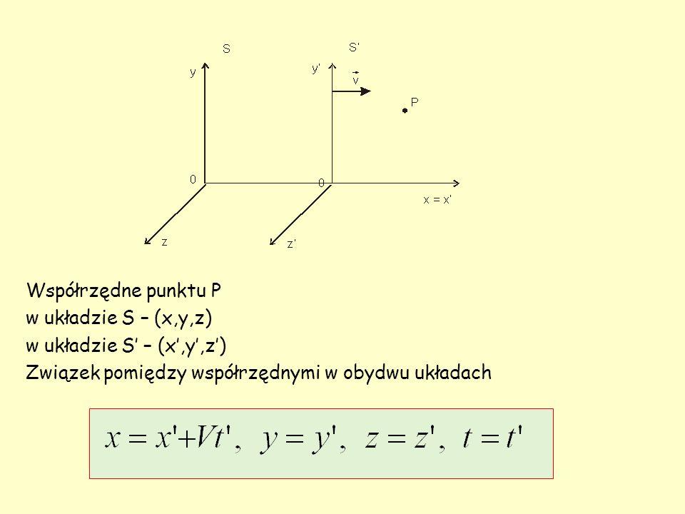 Współrzędne punktu P w układzie S – (x,y,z) Związek pomiędzy współrzędnymi w obydwu układach