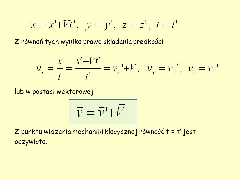 Z równań tych wynika prawo składania prędkości lub w postaci wektorowej Z punktu widzenia mechaniki klasycznej równość t = t jest oczywista.