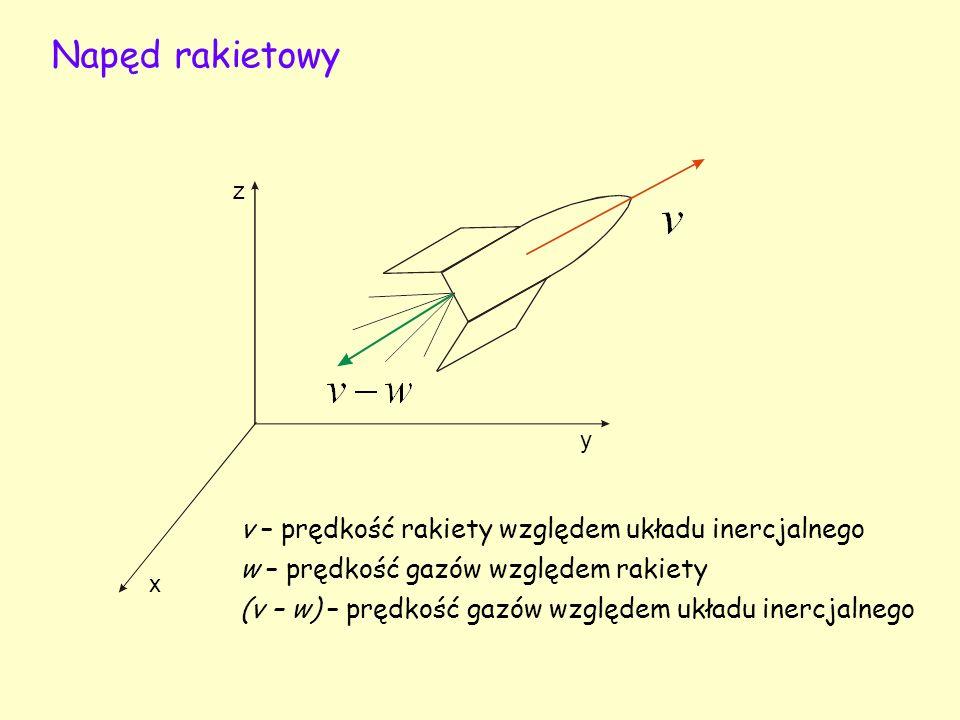 Napęd rakietowy x y z v – prędkość rakiety względem układu inercjalnego w – prędkość gazów względem rakiety (v – w) – prędkość gazów względem układu inercjalnego