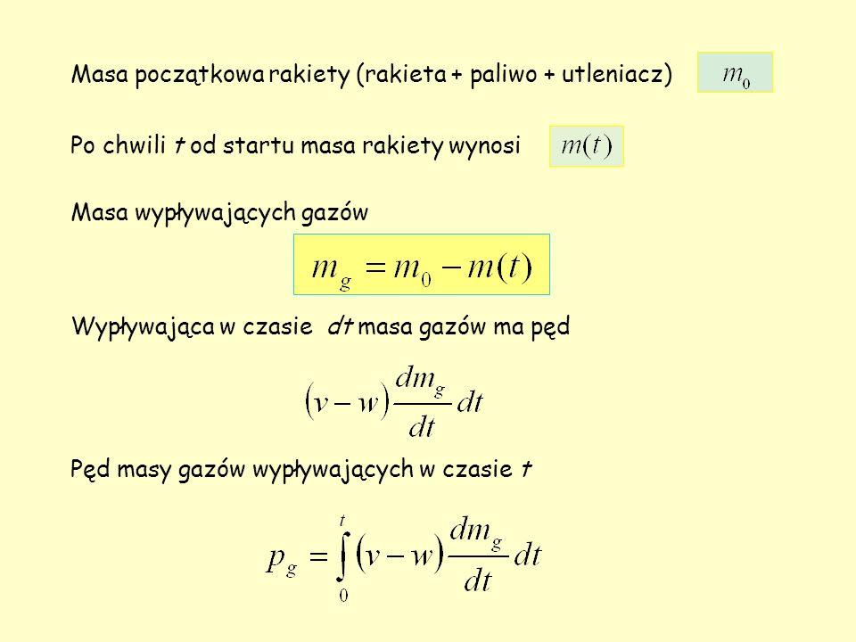Masa początkowa rakiety (rakieta + paliwo + utleniacz) Po chwili t od startu masa rakiety wynosi Masa wypływających gazów Wypływająca w czasie dt masa gazów ma pęd Pęd masy gazów wypływających w czasie t