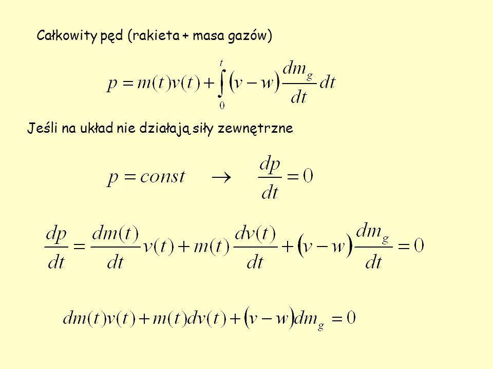 Całkowity pęd (rakieta + masa gazów) Jeśli na układ nie działają siły zewnętrzne